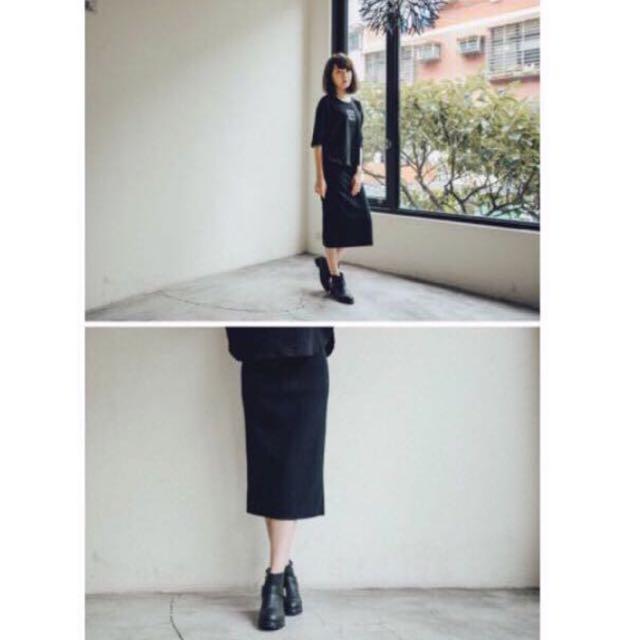 QUEEN SHOP混色針織鉛筆裙 黑色