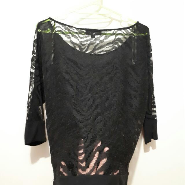 See-through Back, Black Blouse