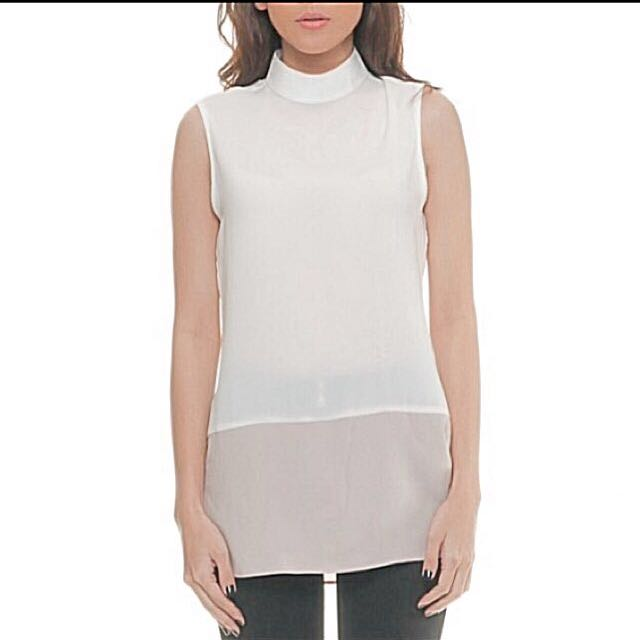 Sleeveless white/dusty pink top