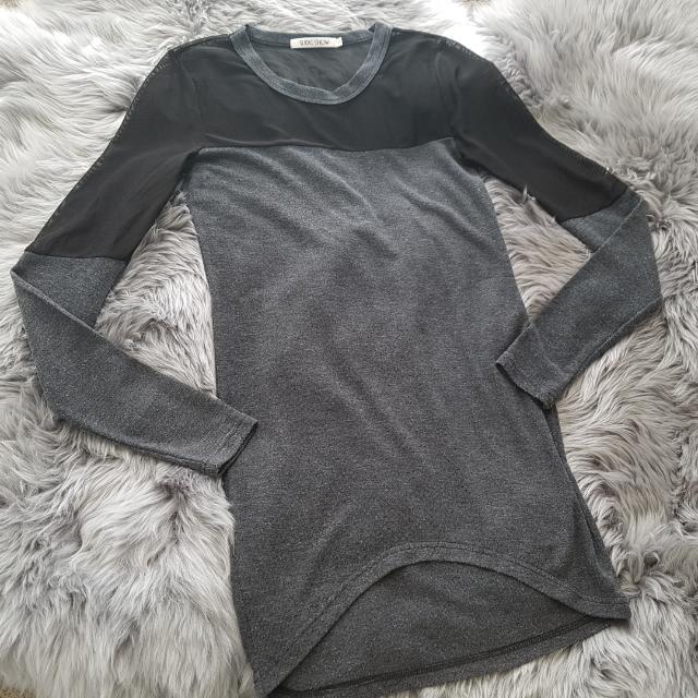 Slideshow Grey Dress With Black Mesh Size S