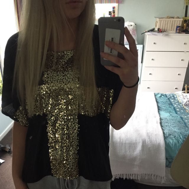 Sparkly Gold Baggy Shirt