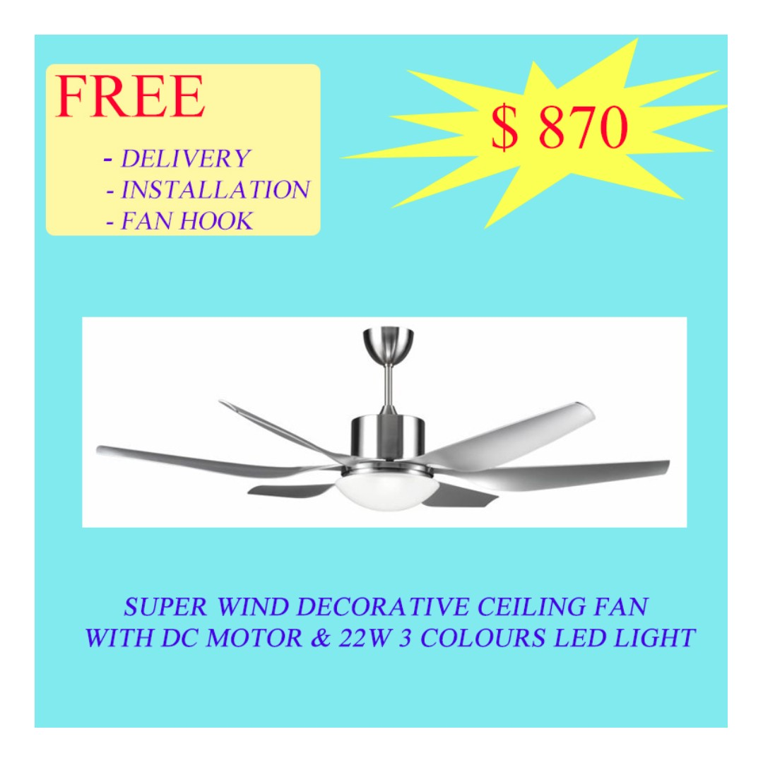 Sapphire Super Wind Decorative Ceiling Fan With DC Motor & 22W 3 ...