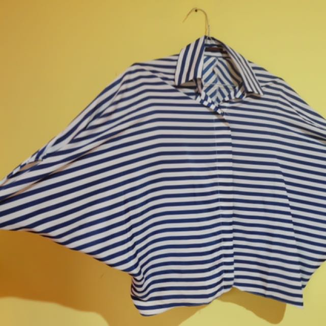 TOP BATWING STRIPES ELECTRIC BLUE-WHITE