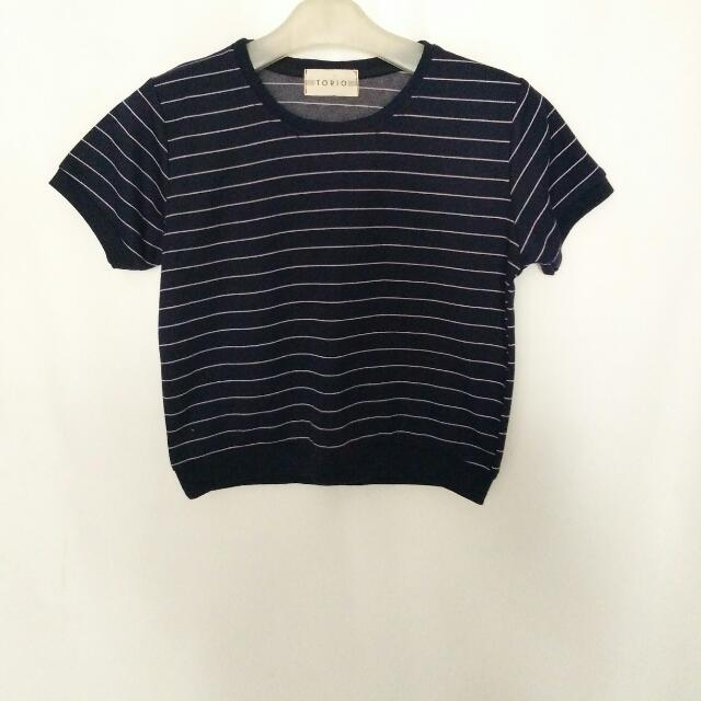 t-shirt crop navy