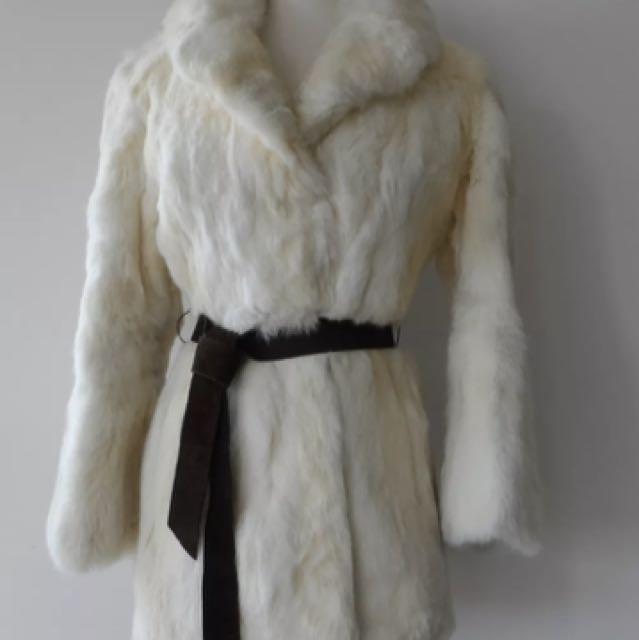 Vintage 70s White Genuine Thick Soft Plush Real Rabbit Fur Jacket Coat M EUC