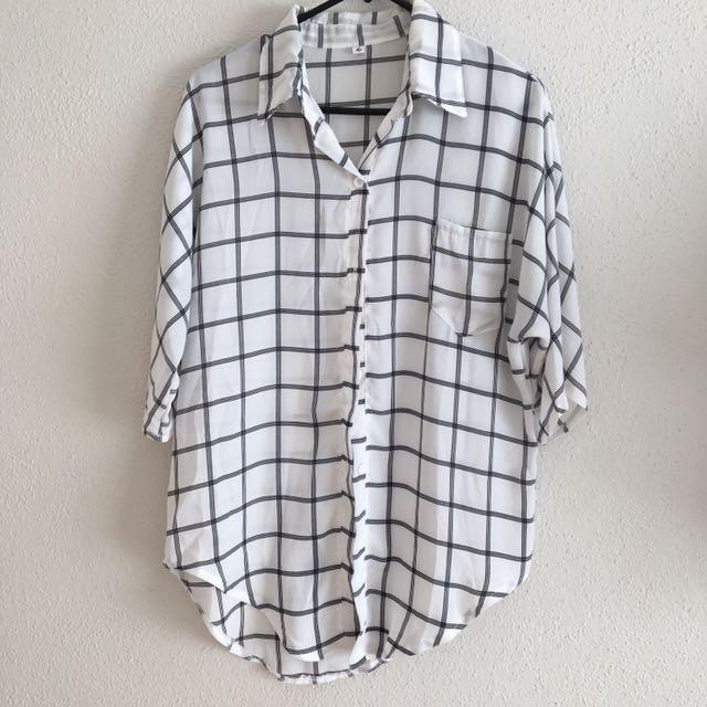 White Grid Blouse