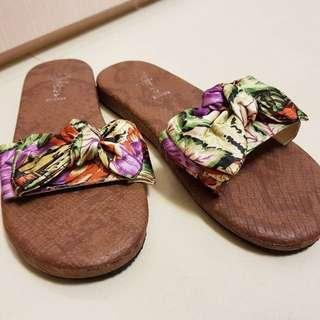 花布蝴蝶結拖鞋