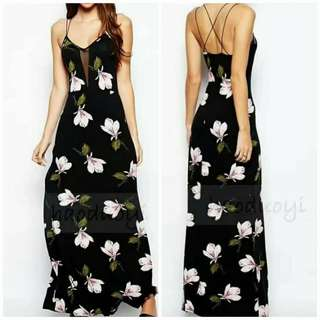 Black Floral Print Cutout Maxi Dress