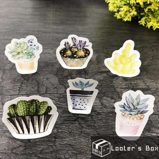 40 Pcs Cactus & Rice Die-Cut Sticker Pack