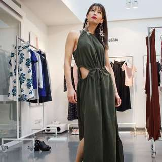 H&M Army Green Playsuit Maxi Dress
