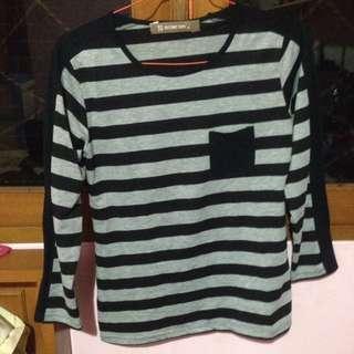 Striped Long Sleeve Tee,kaos Garis-garis