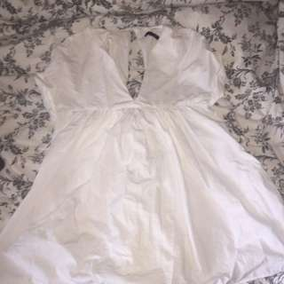 Zara White poplin Romper Size Xs