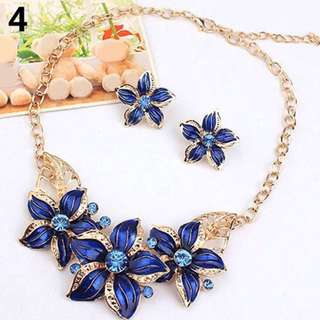 EED Summer flowers set jewelry accesseries necklace earing set.