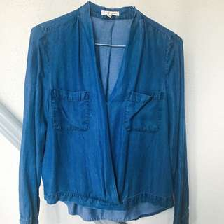 F21 Drape Denim Shirt