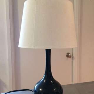 Small Black Lamp With White Shade