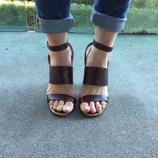 Top shop Leather Mulberry Block Heels Size 6UK/ 8AU