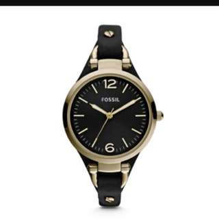 Nearly New Black Gold Leather Fossil Watch