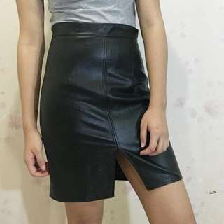 Faux Leather Skirt From Copper