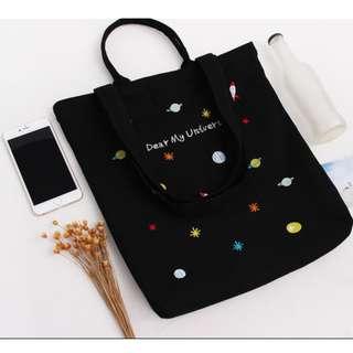[全新] 宇宙加厚帆布手提單肩兩用刺繡拉鏈袋