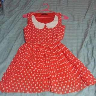 Bright Orange Polkadot Dress