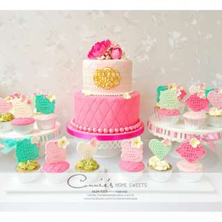 【Connie's Home Sweets】Wedding Candy Corner, Birthday Sweet Table, Floral theme cake & cupcakes