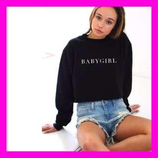 [NO PREORDER] BABYGIRL Black Hoody Sweatshirt