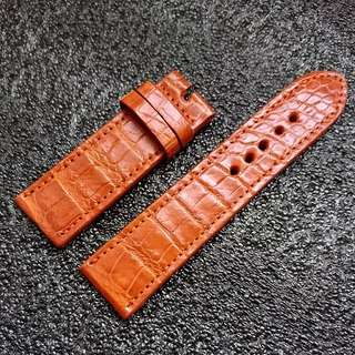 Genuine 24mm Croc Belly Watch Strap Honey Brown Unpadded For Panerai Luminor, Bell & Ross, Certain Tudor, Magrette Or Other 24mm Watch