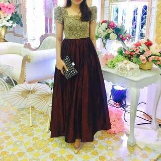 maroon gold long dress / baju pesta