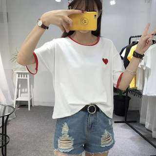 愛心圓領寬鬆T恤p586