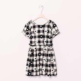pazzo 黑白格紋花朵洋裝
