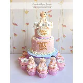 【Connie's Home Sweets】生日滿月百日宴蛋糕 Birthday Cake 100 Days Baby Shower Full Moon Baby Girl