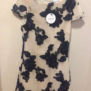 Atmos+Here Nude Mesh Dress With Navy Appliqué