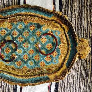 Vintage florentine tray 佛羅倫斯手繪木碟