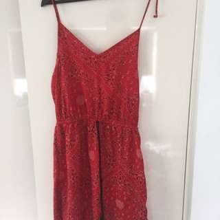 Red Paisley Dress Festival Style