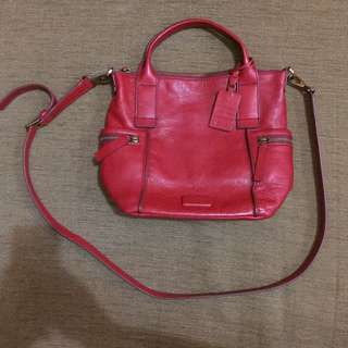 FOSSIL RED LEATHER BAG OF EMERSON