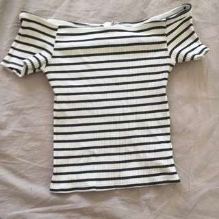 Black And White Striped Crop Top Festival