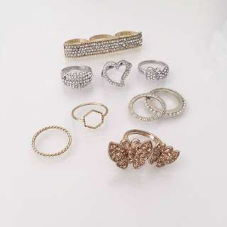 Rings Bling Diamond Silver Gold Rose Butterfly Bar Pearl Ribbon Heart Crystal Jewellery