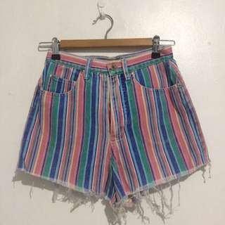 Multi-colored High Waist Shorts