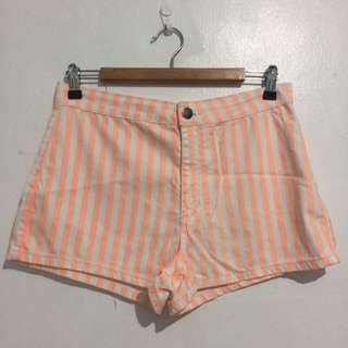 F21 Striped High Waist Shorts