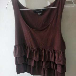 F21 Ruffle Suede Layer Top