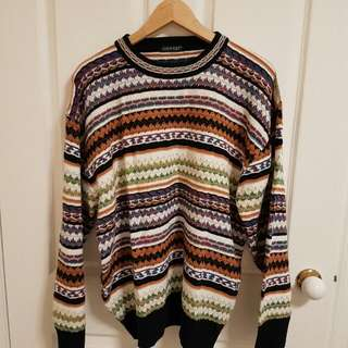 Oversized Aztec Pattern Knit Sweater