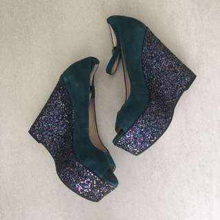 Emerald Suede Pumps with Glitters