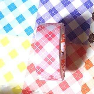 Light Red Washi/ Paper Tape  (Checkered)