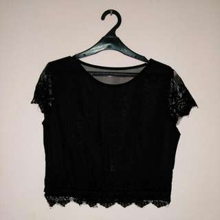 Chiffon Cropped Sequined  Top