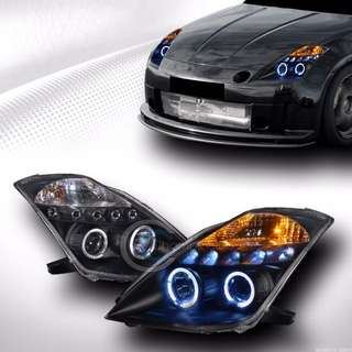 Nissan Fairlady 350Z 03-05 Projector Head Lamp LED Ring(H1)Black