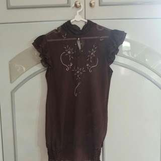 Brown Floral Payet Blouse
