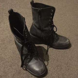 Topshop Leather Boots Size 36