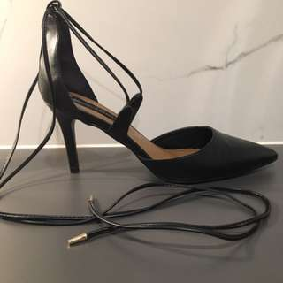 Black Lace Up High Heels