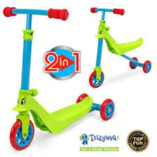 ZYCOM ZYKSTER 2 IN 1 BALANCE TRIKE SCOOTER (LIME GREEN BLUE RED)