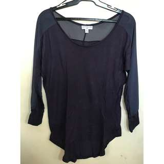 Cotton On 3/4 Mesh Top (in Black and Navy)